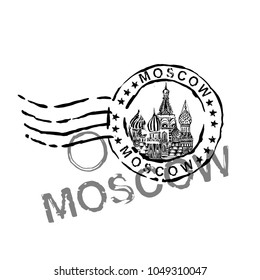 Moscow stamp image with Saint Basil s Cathedral. Vector hand drawn travelling illustration. Grunge decorative background in monochrome colors. Useful for travel souvenir, postcard, envelope design.