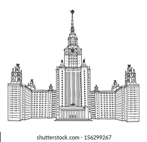 Moscow State University, Moscow. MGU, Russia. Famous russian building isolated. Travel landmark sign