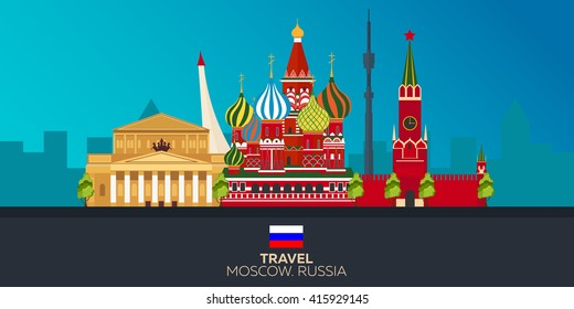 Moscow. Tourism. Travelling illustration Moscow city. Modern flat design. Moscow skyline. Russia