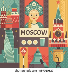 Moscow travel poster concept. Vector illustration with Russian culture icons, including St. Basil's Cathedral, portrait of Russian beauty in kokoshnik, Kremlin, Tsar Bell. Isolated on background.