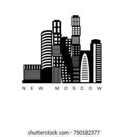 Moscow. Vector city silhouette with windows. Vector Illustration