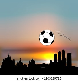 Moscow vector skyline with football ball