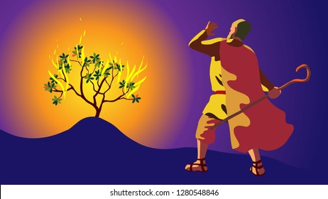 Moses in desert, on mount Sinai. Burning bush and revelation of Lord and the Creator