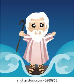 Moses dividing the Sea - Vector