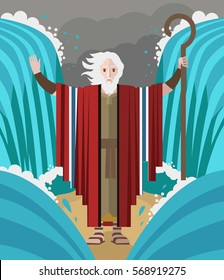 moses with his miracles staff parting the red sea
