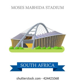 Moses Mabhida Stadium in Durban in South Africa. Flat cartoon style historic sight showplace attraction web site vector illustration. World countries vacation travel sightseeing Africa collection.