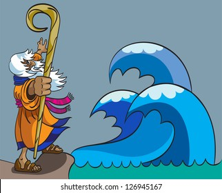 Moses moves the Red Sea for the  people of God