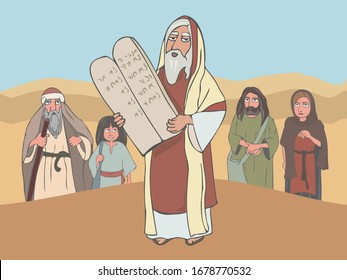 Moses the prophet with Stone Tablets and ancient jewish