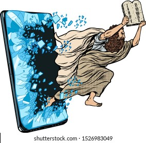 Moses the prophet with the tablets of commandments. Christian online news concept. Phone gadget smartphone. Online Internet application service program. Pop art retro vector illustration drawing