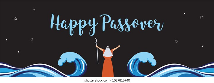 Moses separate sea for Passover holiday over night background, flat design. vector illustration