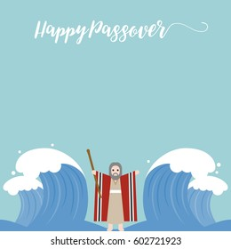 Moses separate sea for passover holiday, flat design vector