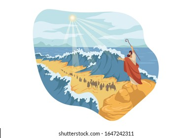 Moses, separation of Red Sea, Bible concept. Prophet Moses holds out his staff and Red Sea was separated by God power. Biblical illustraton of jews exodus from Egypt in cartoon style. Vector flat