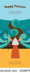 Moses splitting the red sea and ordering let my people go out of Egypt. story of Jewish holiday Passover. vector illustration