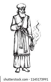 Moses torah historic divine ministry culture. Old bearded Aaron in tunic, turban with censer of incense. Line black ink hand drawn judaic leader sketch in vintage art east engrave style pen on paper