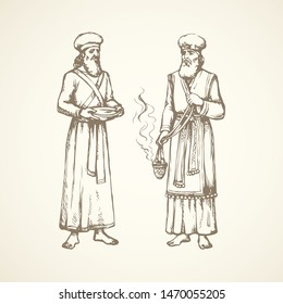 Moses torah historic divine ministry culture. Old bearded Aaron in tunic, turban with censer of incense. Line black ink hand drawn judaic levit leader sketch in vintage art east engrave print style