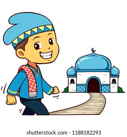 Moslem Boy Character Going To Mosque.