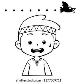 Moslem Boy Character Pose Awkward BW.