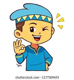 Moslem Boy Character Pose Aye.