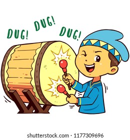 Moslem Boy Character Pose Hit Drum.