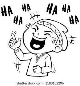 Moslem Boy Character Pose Laughing So Hard BW.