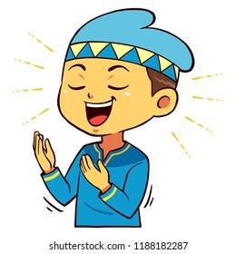 Moslem Boy Character Praying Pose.