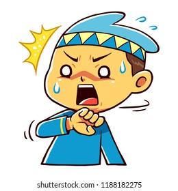 Moslem Boy Character Shocked Pose.