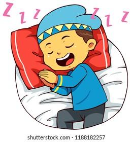Moslem Boy Character Sleeping Pose.