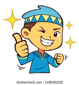 Moslem Boy Character Thumb Up Pose.