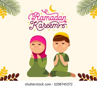 Moslem boy and girl with beautiful ramadan kareem text vector illustration