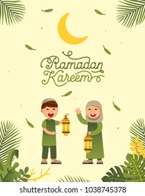 Moslem boy and girl celebrating ramadan with beautiful ramadan kareem text design background