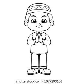 Moslem Boy Greeting Salaam BW