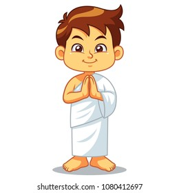 Moslem Boy Hajj Greeting Salaam.