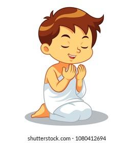 Moslem Boy Hajj Praying Devoted.