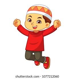 Moslem boy happy jump.