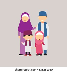 Moslem Family Design Vector