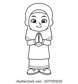 Moslem Girl Greeting Salaam BW