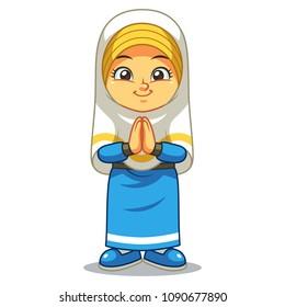 Moslem Girl Greeting Salaam. Ramadan Mubarak.