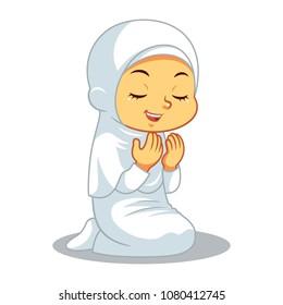 Moslem Girl Hajj Praying Devoted.