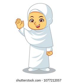 Moslem girl hajj wearing ihram pilgrimage to mecca.