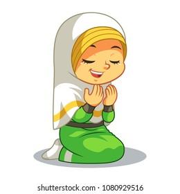 Moslem Girl Praying Dua With Sincerity.