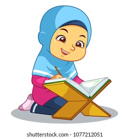 Moslem girl reciting Quran with happy face.