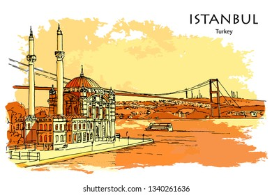 ORTAKÖY MOSQUE ALONG THE BOSPHORUS, ISTANBUL, TURKEY – Hand drawn sketch