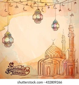 Mosque and arabic lantern watercolor and ink sketch for Ramadan Kareem background - Translation of text : Ramadan Kareem - May Generosity Bless you during the holy month