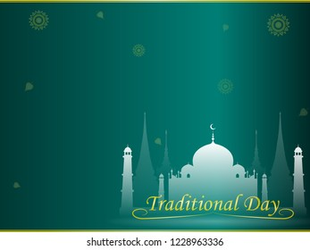 Mosque city landscape on bright green background with copy space ,greeting card,illustration vector eps10.
