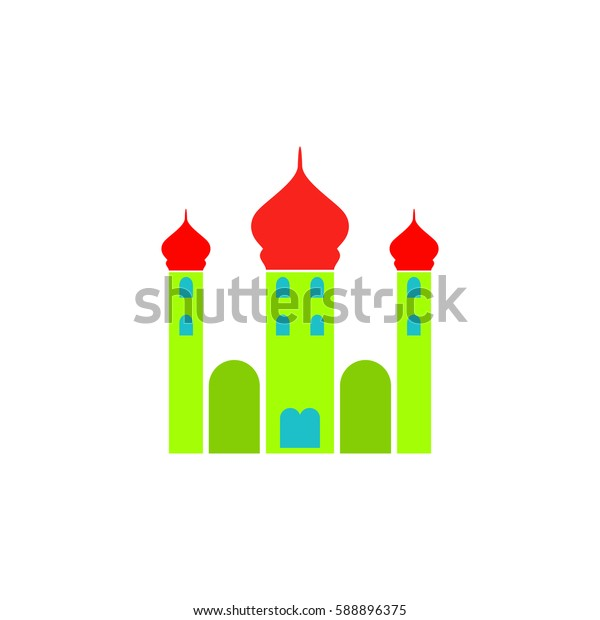 Mosque. Color symbol icon on white background. Vector illustration