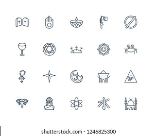 Mosque, Confucianism, agnosticism, God, holy Elephant, atheism, Rub el Hizb, indulgence, Rosary, blasphemy, Diwali outline vector icons from 20 set