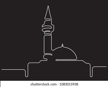mosque - Continuous line drawing