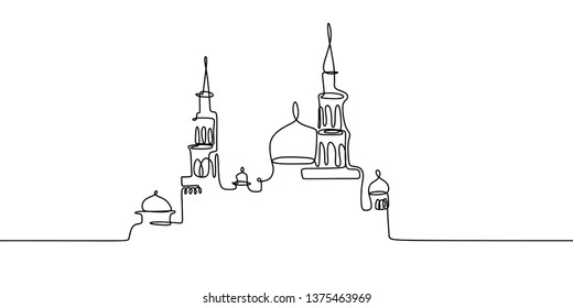 Mosque continuous line drawing vector minimalist design. islamic symbol sign isolated one white background.