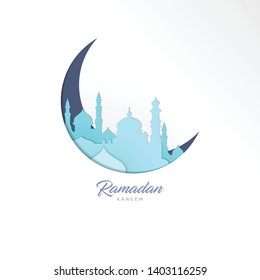 Mosque cutout paper template background