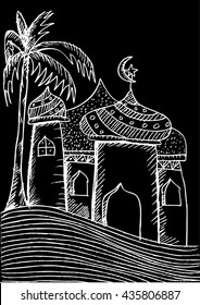 Mosque doodle sketch illustration